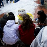The freshmen adorned their snowman with a scarf in yellow, their class color. The freshmen beat out every other class to take first place.