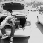 Senior Boshiaw asked Senior Melissa by popping out of his trunk and surprising her with flowers
