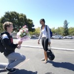 Junior Michael asked Junior Erika during school by getting down on one knee and asking with flowers.