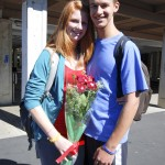 Junior Remy asked Sophomore Chandler with flowers.