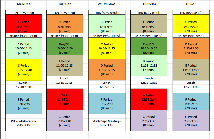 Administration releases new bell schedule for next year