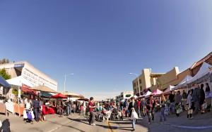 A fisheye view of the California Avenue Farmer's Market