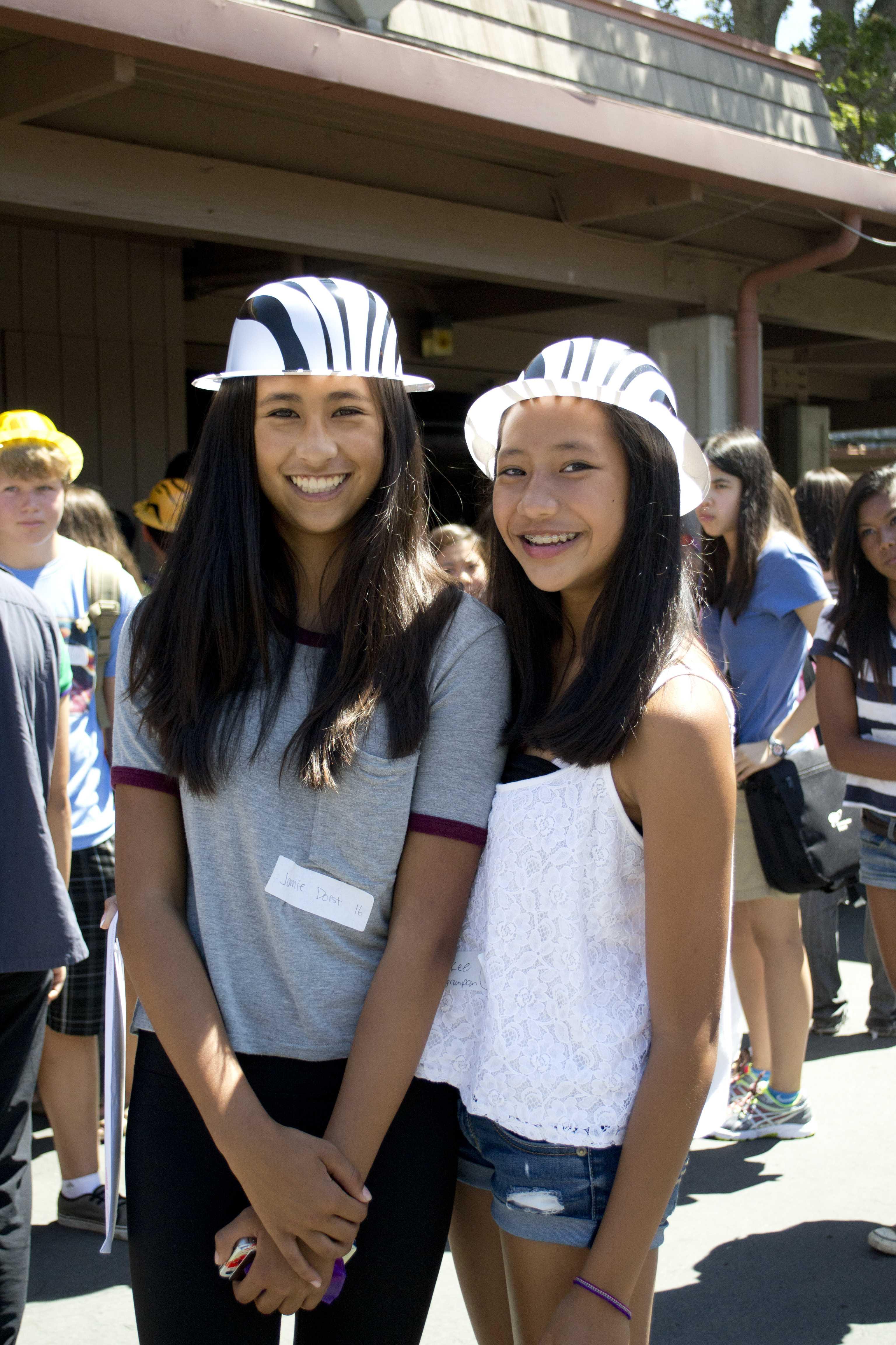Freshmen Jamie Dorst and Mikaela Cagampan in hard hats.