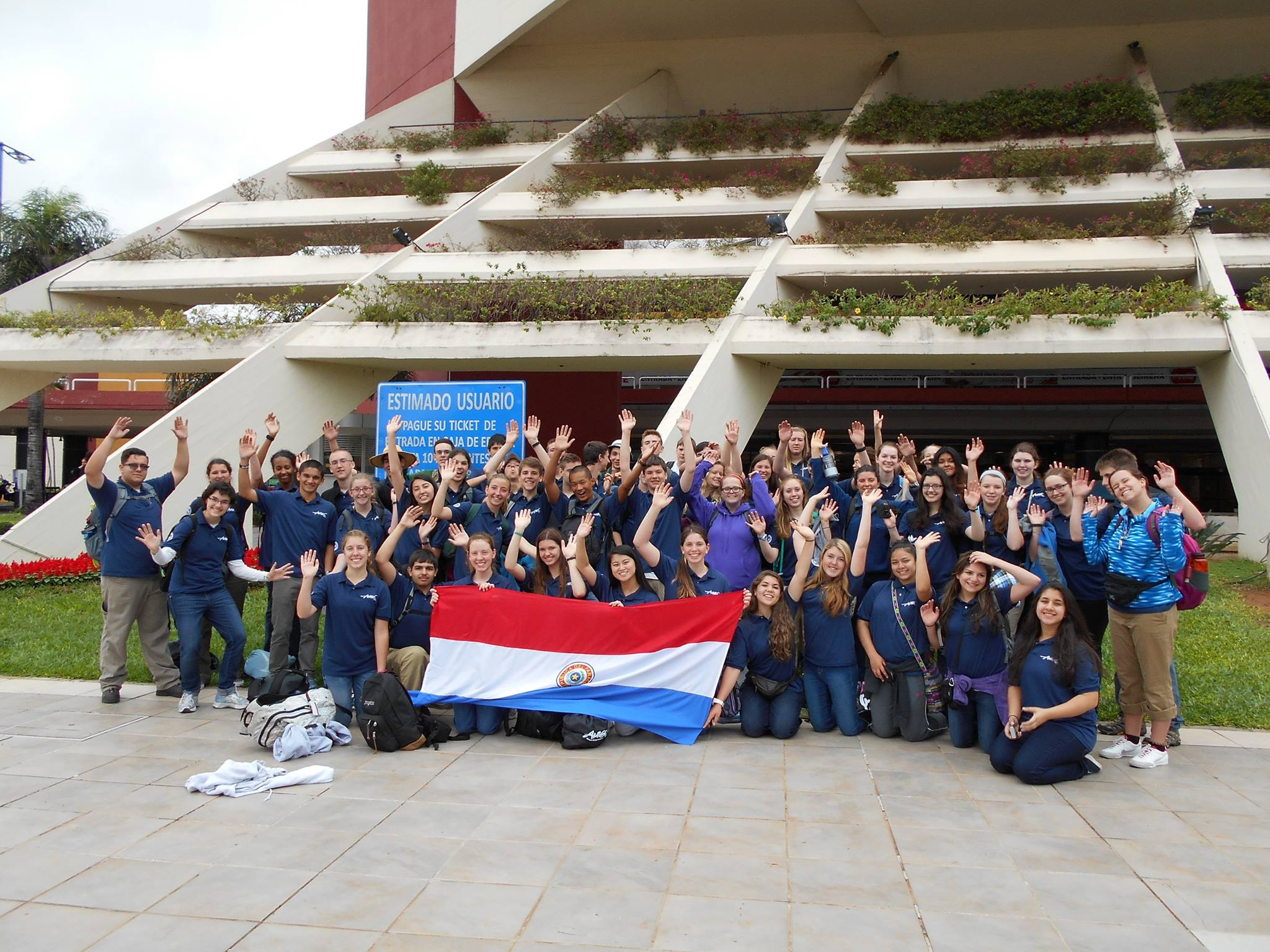 Gates poses with her Paraguay chapter before they begin on their 7-week service trip.