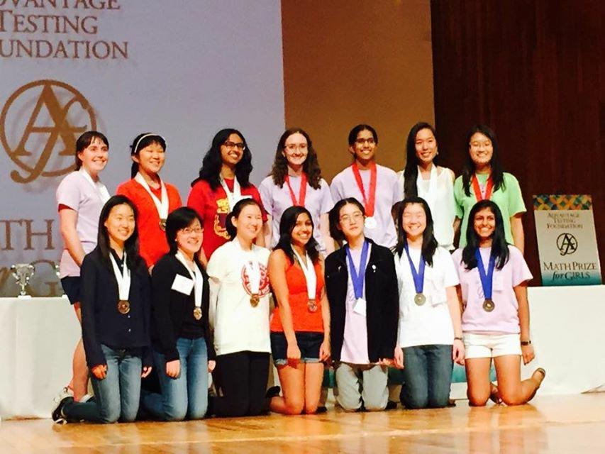 A group of Gunn girls attended the Math Prize for Girls competition this year. Courtesy of Jane Ahn
