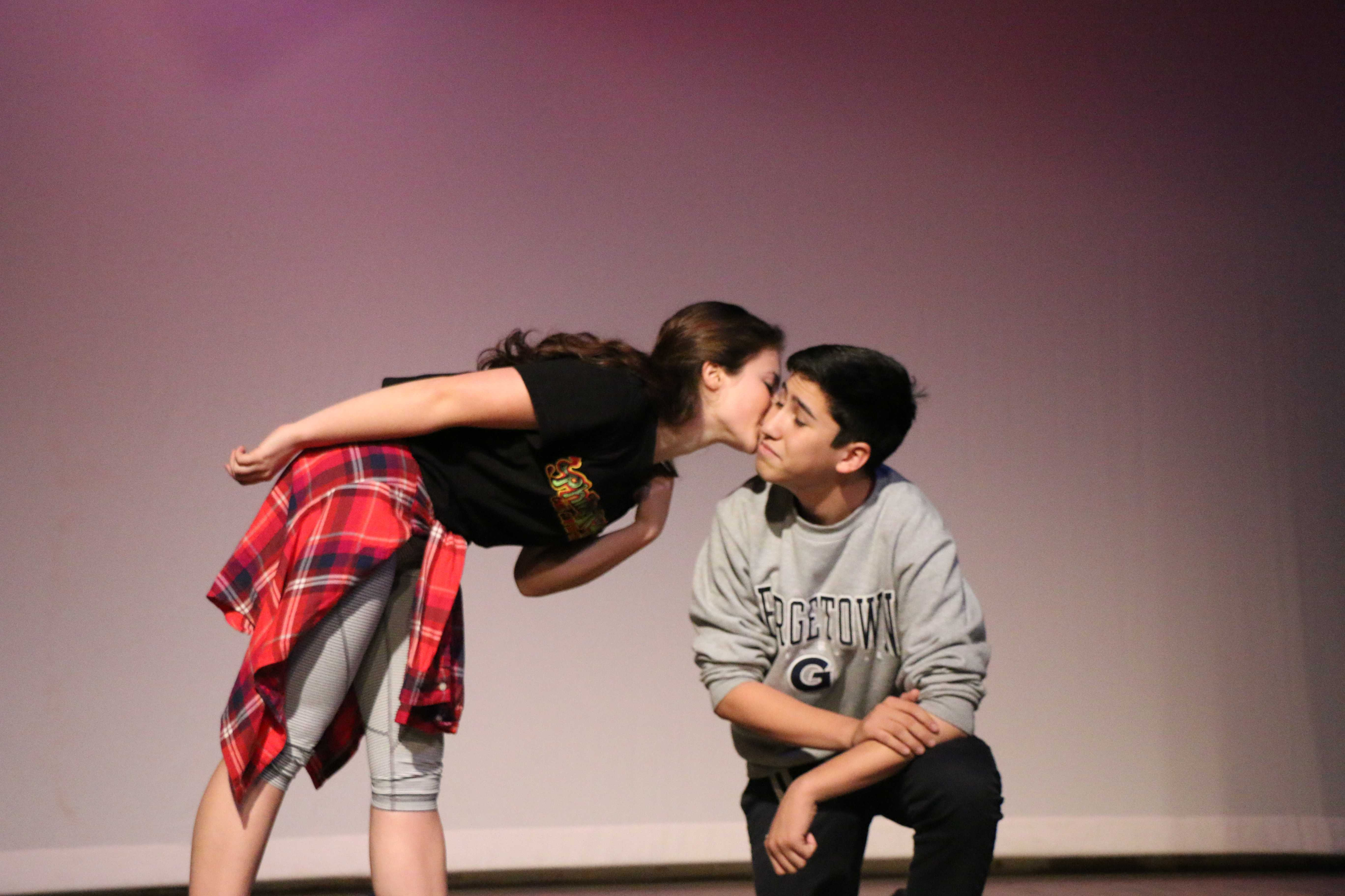 Seniors Viva Rose and Ben Lee act out a simple but telling moment in the play. Photo by Josh Spain