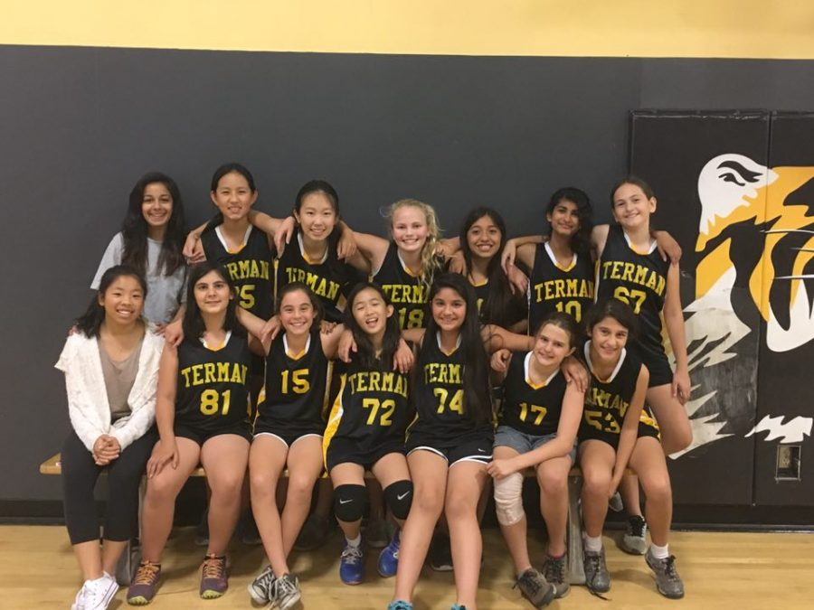 The+Terman+volleyball+team+poses+with+its+coaches%2C+sophomores+Ritu+Advani+and+Nikeilie+Yang.+Courtesy+of+Ritu+Advani