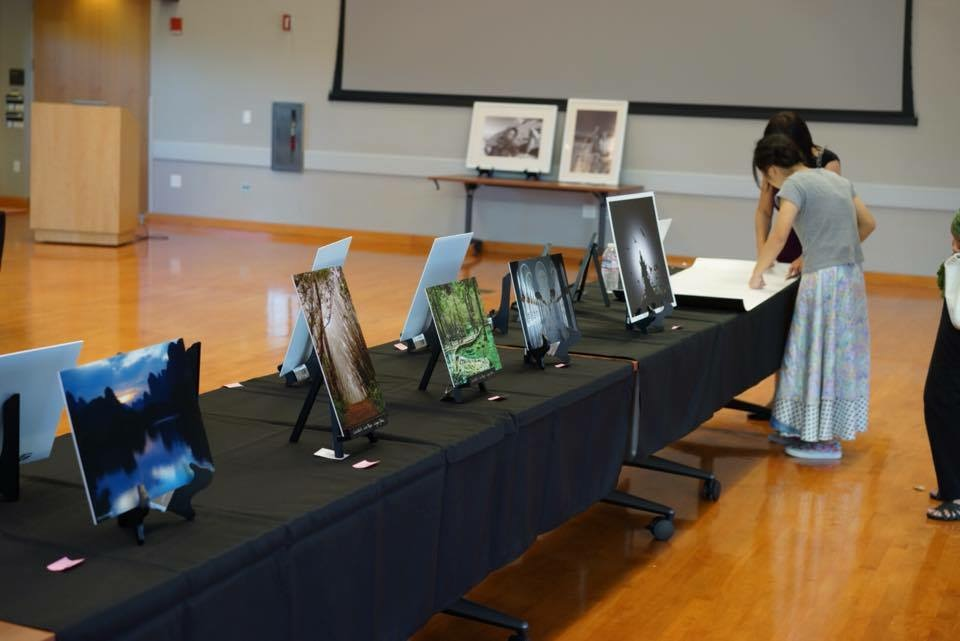 Students in Braille Without Borders present their photo gallery to art patrons in the Mitchell Park Community Center. Courtesy of Jady Tian.