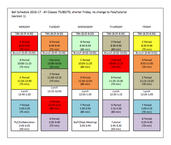 Next year's bell schedule altered to benefit students