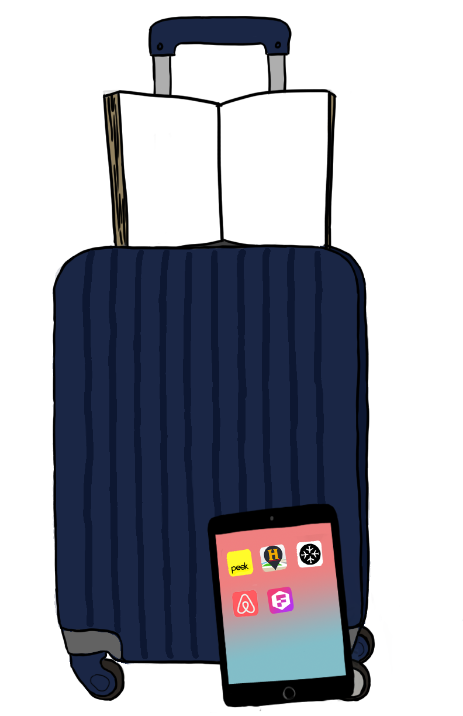 Suitcase ipad book travel