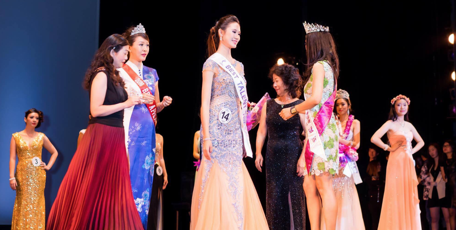 Lily Liu receives Best Talent at the 2016 Miss World Fashion Beauty Pageant.