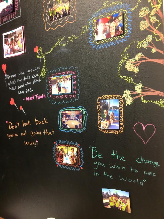 A wall in the youth group meeting room displays photos, inspirational quotes.
