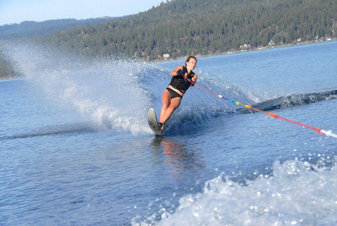Students make a splash in water sports: water skiing