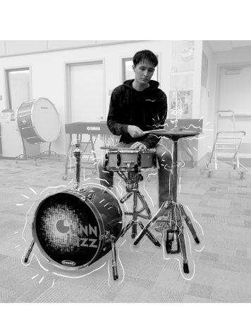 Senior Aidan Roessig practices the drums in the band room.  Photo illustration by Sophia Lu, Jocelyn Wang and Wendy Xiong