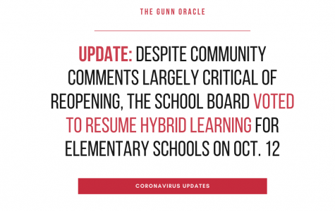 <b>UPDATE:</b> Despite community comments largely critical of reopening, the school board voted to resume hybrid learning for elementary schools on Oct. 12