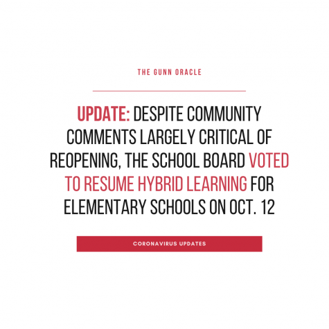 UPDATE: Despite community comments largely critical of reopening, the school board voted to resume hybrid learning for elementary schools on Oct. 12